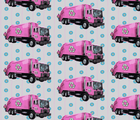 Pink Trash Garbage Truck Light Blue Stripe fabric by gethugged on Spoonflower - custom fabric