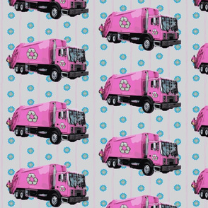 Pink Trash Garbage Truck Light Blue Stripe