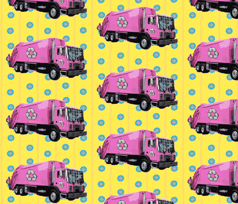 Pink Trash Garbage Trucks Yellow Stripe fabric by gethugged on Spoonflower - custom fabric