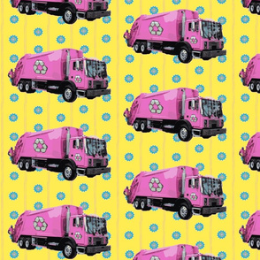 Pink Trash Garbage Trucks Yellow Stripe