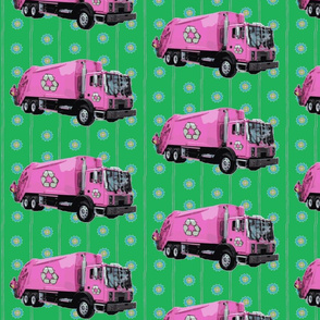 Pink Trash Garbage Trucks Green Stripe