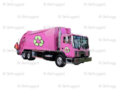Small Pink Trash Garbage Trucks on White-Rows