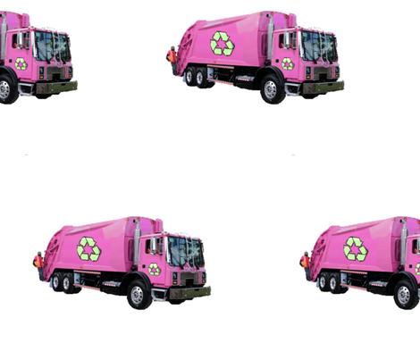 Pink Trash Garbage Trucks on White fabric by gethugged on Spoonflower - custom fabric
