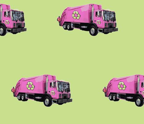 Pink Trash Garbage Trucks on Light Green fabric by gethugged on Spoonflower - custom fabric