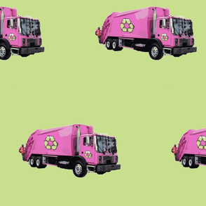 Pink Trash Garbage Trucks on Light Green
