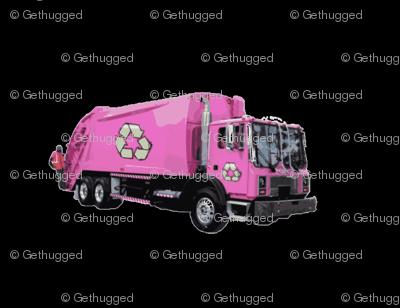 Pink Trash Garbage Truck on Black