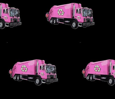 Pink Trash Garbage Truck on Black fabric by gethugged on Spoonflower - custom fabric