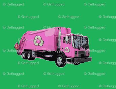 Pink Trash Garbage Trucks on Green