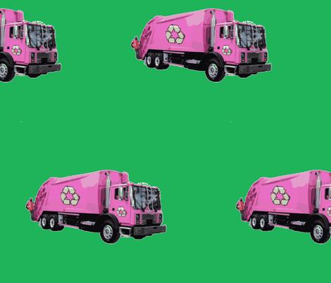Pink Trash Garbage Trucks on Green fabric by gethugged on Spoonflower - custom fabric
