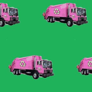 Pink Trash Garbage Trucks on Green