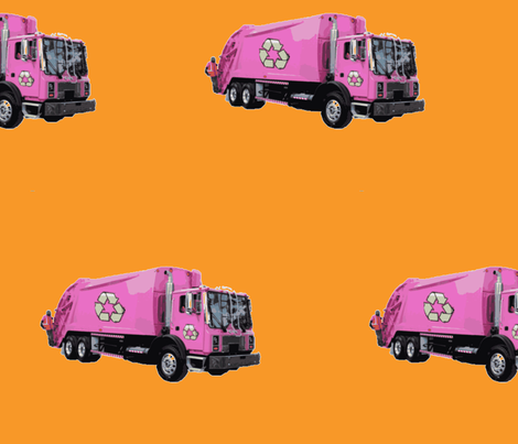 Pink Trash Garbage Trucks on Orange fabric by gethugged on Spoonflower - custom fabric