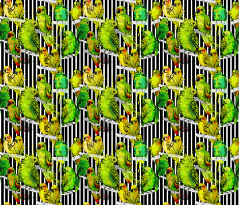 watercolor parrots and black stripes fabric by holaholga on Spoonflower - custom fabric