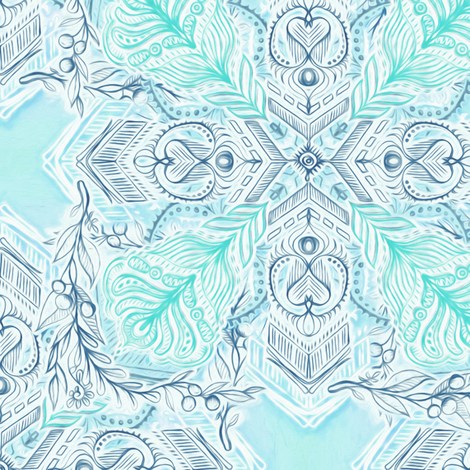 Ice Blue and Mint Doodle Tiled Pattern fabric by micklyn on Spoonflower - custom fabric