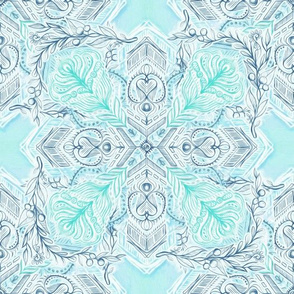 Ice Blue and Mint Doodle Tiled Pattern