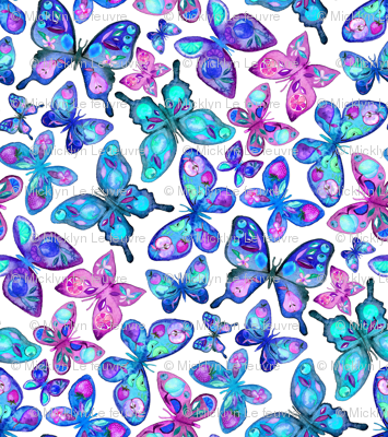 Watercolor Fruit Patterned Butterflies - aqua and sapphire