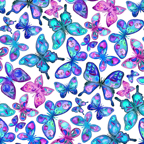 Watercolor Fruit Patterned Butterflies - aqua and sapphire fabric by micklyn on Spoonflower - custom fabric