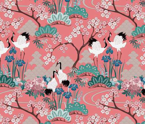 gueth_japanese_garden_chinese_red2 fabric by juditgueth on Spoonflower - custom fabric
