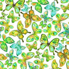 Watercolor Fruit Patterned Butterflies - lime and lemon