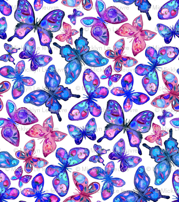 Watercolor Fruit Patterned Butterflies - royal blue, purple and pink