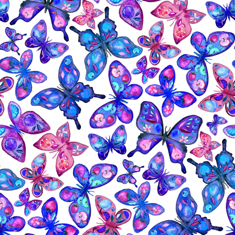 Watercolor Fruit Patterned Butterflies - royal blue, purple and pink fabric by micklyn on Spoonflower - custom fabric