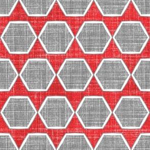 Fresh Linen Hexagon in Red