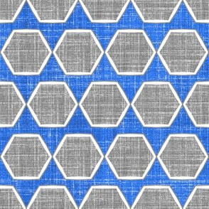 Fresh Linen Hexagon in blue