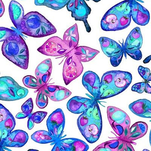 Watercolor Fruit Patterned Butterflies - aqua and sapphire - large