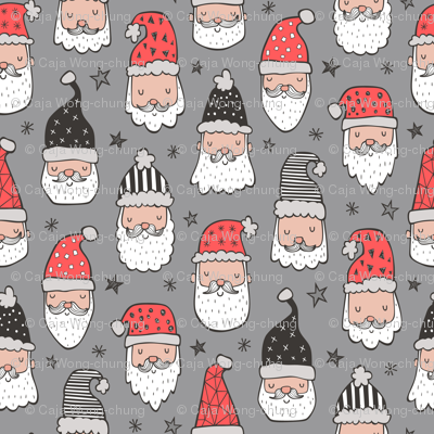 Christmas Santa Claus with Stars on Grey
