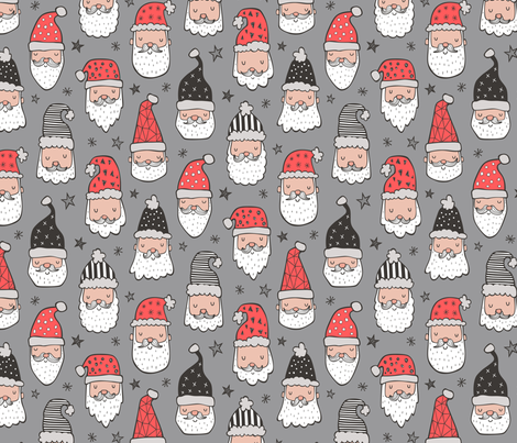 Christmas Santa Claus with Stars on Grey fabric by caja_design on Spoonflower - custom fabric