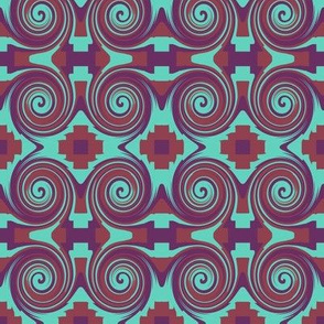 AW 4 Small Scale  Bidirectional Circles and Zigzag Crosses Form an Art Nouveau Style Design, Maroon, Purple, Turquoise, Reflection