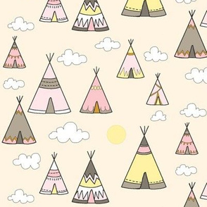 teepee Village - Daybreak- pink/ yellow/tan