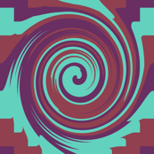 AW4 - Rolling Circular Waves and Zigzag Pyramids, turquoise, maroon and purple,  small scale half brick repeat