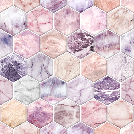 Rose Quartz and Amethyst Stone and Marble Hexagon Tiles fabric by micklyn on Spoonflower - custom fabric