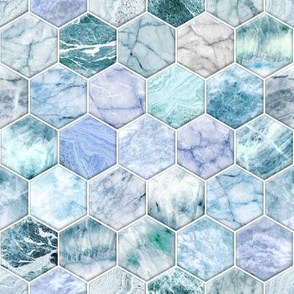Ice Blue and Jade Stone and Marble Hexagon Tiles