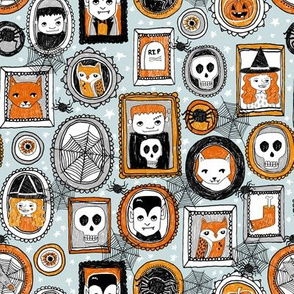 halloween // halloween fabric orange blue black vampire spider pumpkin kids october creepy