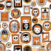 halloween // orange and black spider witch skull owl vampire creepy halloween fabric