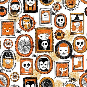 halloween // orange and black spider witch skull owl vampire creepy halloween fabric