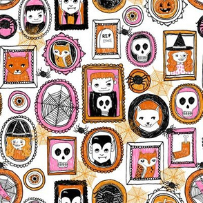 halloween // pink orange girls creepy scary october skull spiders witches owls hocus pocus