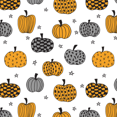pumpkin // pumpkins orange and grey kids room kids fabric for halloween fabric projects halloween clothes sewing  fabric by andrea_lauren on Spoonflower - custom fabric