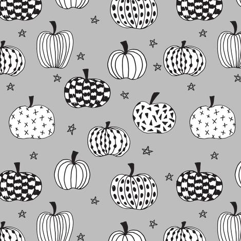 pumpkin // pumpkins grey white black kids halloween  halloween fabric for kids projects kids costumes kids halloween fabric by andrea_lauren on Spoonflower - custom fabric