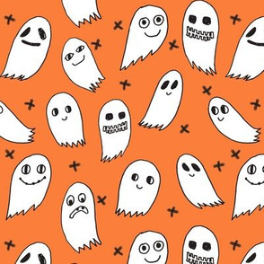 ghosts // orange ghosts halloween ghost spirit casper october kids cute halloween fabric