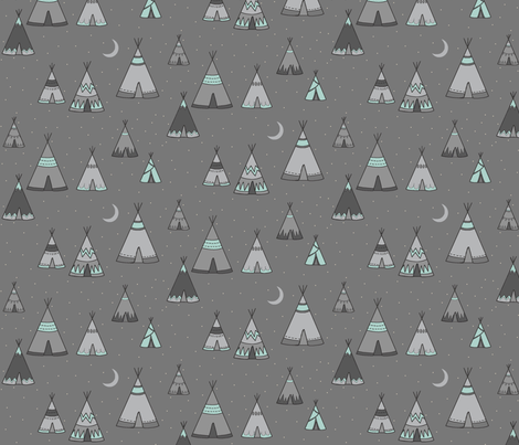 TeePee Village - grey/mint - Southwest Boho fabric by sugarpinedesign on Spoonflower - custom fabric