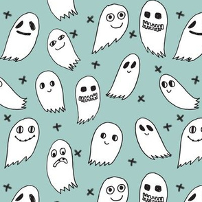 ghosts // mint ghost ghosties spooky scary october halloween mint fabric