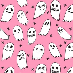 ghosts // pink halloween ghost fabric girls halloween scary spooky ghost fabric