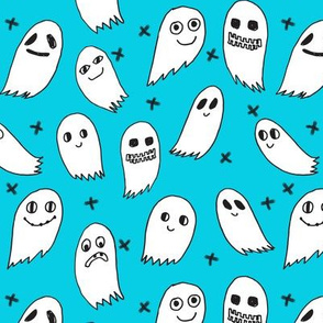 ghosts // turquoise aqua spooky scary halloween october frightening fabric
