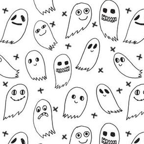 ghosts // black and white scary halloween cute scary spooky kids fabric for halloween october ghosts