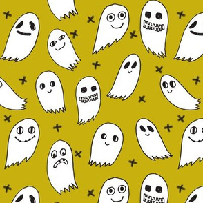 ghosts // green halloween fabric cute scary spooky ghosties ghost halloween kids fabric