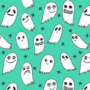 ghost // ghosts green kids baby fabric for halloween october spooky scary halloween fabric design