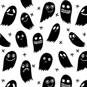 ghost // ghosts black and white scary spooky halloween fabric for october kids halloween fabrics