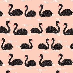 swans // black swan mini cute girls pink swan